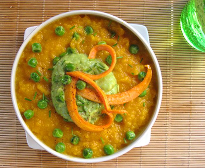 petits pois et soupe aux carottes