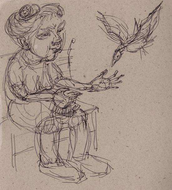 blog sketch birdfeeding lady